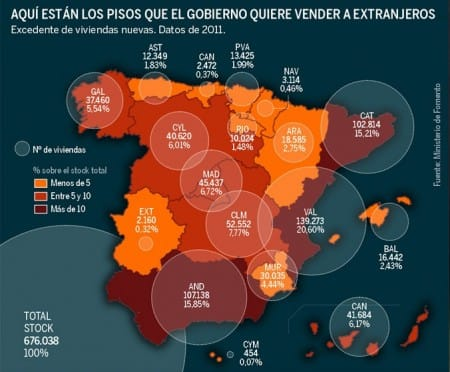 Map stock property to sell in Spain